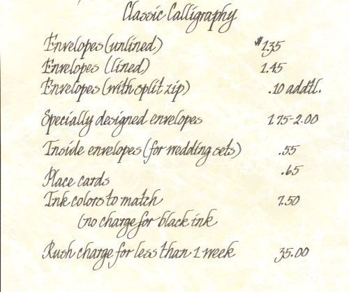 Price List Calligraphy By Joyce St Louis Mo